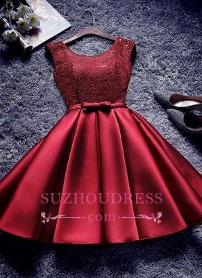 Bowknot-Sash Red Lace-Up-Back A-line Homecoming Dress UKes UK BA7429_1
