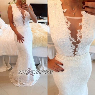 Elegant V-neck Sleeveless Mermaid Prom Dress UK With Pearls And Lace Appliques BT0_2