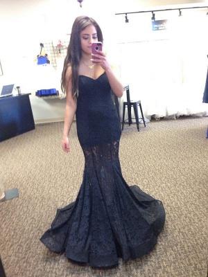 Elegant Black Lace Mermaid Prom Dress UK Sweetheart Sleeveless Sweep Train_3