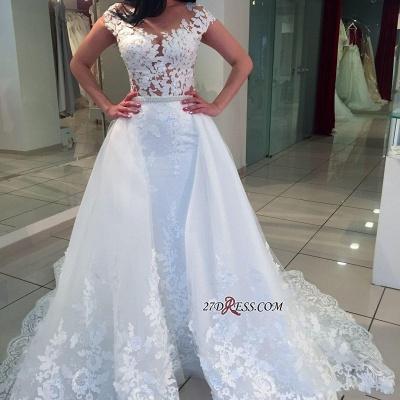 Romantic Cap-sleeve A-Line Lace White Wedding Dresses UK_2
