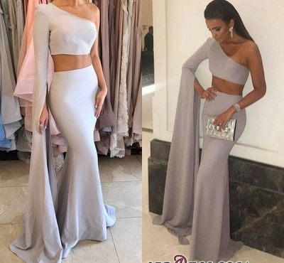 Floor-Length Mermaid Stunning Two-Pieces One-Shoulder Prom Dress UK_2