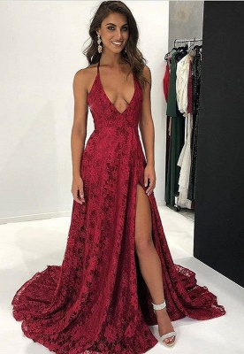 Dark Red Lace Prom Dress UK | V-Neck Evening Gowns With Slit BA9243_1