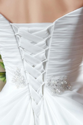 Front Split White Wedding Dress Beadss Sweetheart Sleeveless_4