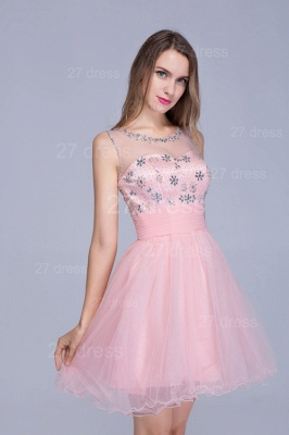 Lovely Illusion Pink Short Homecoming Dress UK Sleeveless With Crystals_2