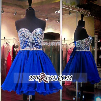 Sweetheart Mini Blue Lace-Up Crystal Homecoming Dress UKes UK BA3829_3