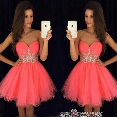 Sweetheart Mini Beadings Tulle A-line Homecoming Dress UK_3