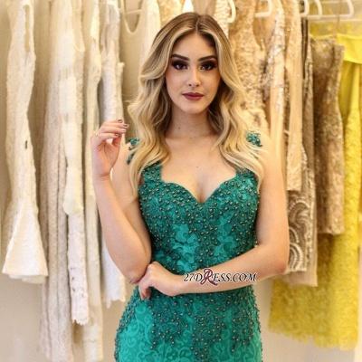 Pearls Lace-Applique Mermaid Straps Gorgeous Prom Dress UKes UK_2