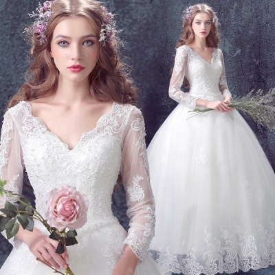 Romantic Lace Tulle Ball Gown Wedding Dress 3/4-Long Sleeve_4