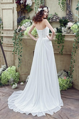 Front Split White Wedding Dress Beadss Sweetheart Sleeveless_5