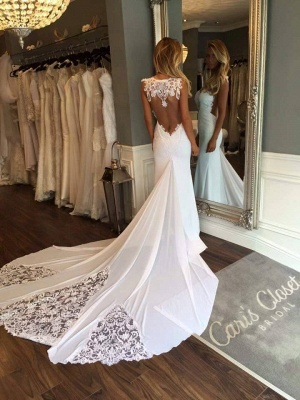 Delicate White Sexy Mermaid Lace Wedding Dress Long Train_1