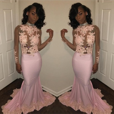 Pink High-Neck Prom Dress UK | Mermaid Evening Party Gowns With Lace Appliques BK0_3