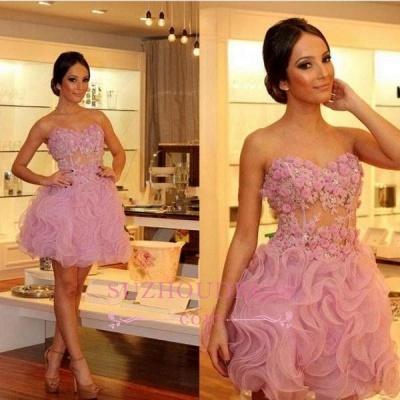 Luxury Sweetheart Short Prom Dress UKes UK | Homecoming Dress UK With Flowers_1