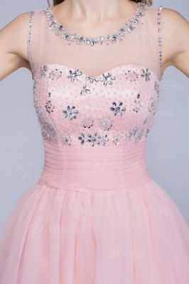 Lovely Illusion Pink Short Homecoming Dress UK Sleeveless With Crystals_4