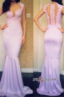 Sleeveless Elegant Mermaid Popular Sweep-Train Appliques Prom Dress UKes UK_2