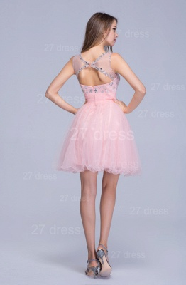 Lovely Illusion Pink Short Homecoming Dress UK Sleeveless With Crystals_5