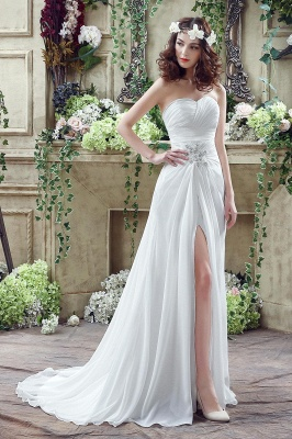 Front Split White Wedding Dress Beadss Sweetheart Sleeveless_6