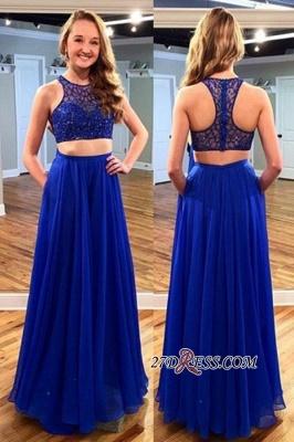 Newest Jewel Long Sleeveless Royal-Blue Beads Two-piece Prom Dress UK_2