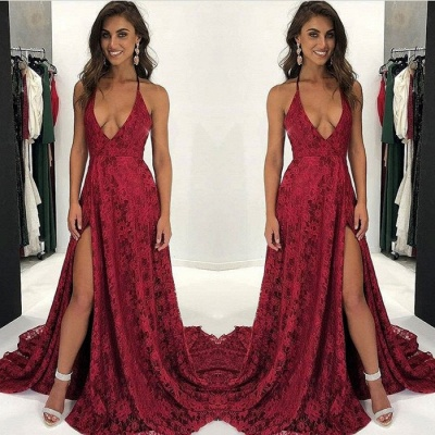 Dark Red Lace Prom Dress UK | V-Neck Evening Gowns With Slit BA9243_3