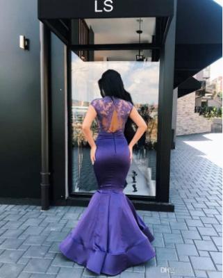 Luxury Short Sleeve Lace Appliques Evening Dress UK Mermaid Long On Sale_3