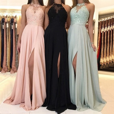 Sexy Halter Lace Evening Dress UK | 2019 Long Chiffon Prom Dress UK With Slit_4