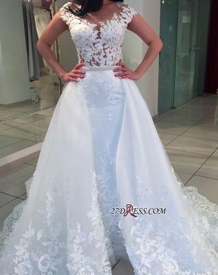 Romantic Cap-sleeve A-Line Lace White Wedding Dresses UK_3