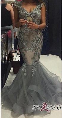 Tulle Crystal Open-Back Sexy Mermaid V-Neck Cap-Sleeves Prom Dress UKes UK_2