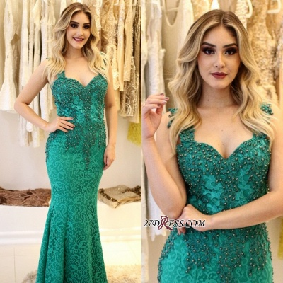 Pearls Lace-Applique Mermaid Straps Gorgeous Prom Dress UKes UK_4