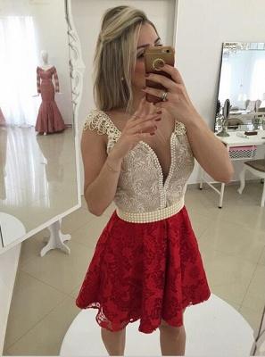 Elegant Cap Sleeve Short Cocktail Dress UK Open Back Pearls Bowknot BT0_3