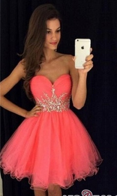 Sweetheart Mini Beadings Tulle A-line Homecoming Dress UK_2