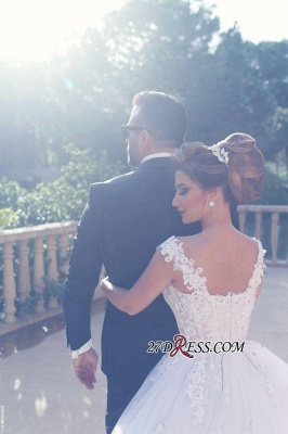Straps Beads Lace-Appliques Ball-Gown Amazing White Wedding Dresses UK_4