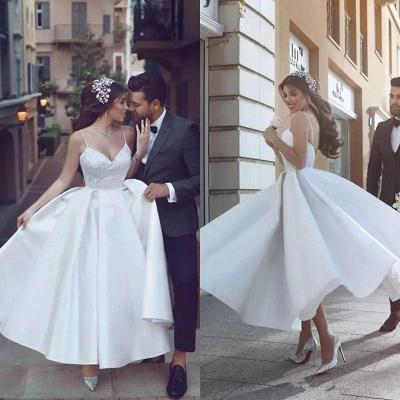 Modest Spaghetti Strap A-line Wedding Dress | White Bridal Gown_3
