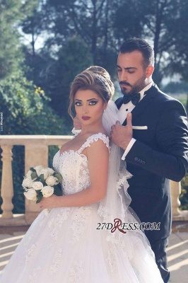 Straps Beads Lace-Appliques Ball-Gown Amazing White Wedding Dresses UK_3