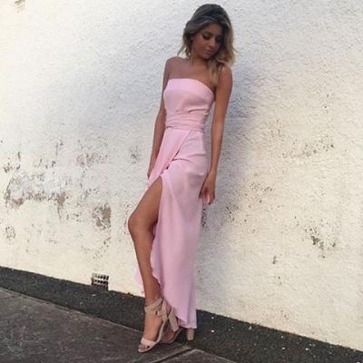 Chiffon Pink Front-Split Sleeveless Strapless Sexy Prom Dress UK_2