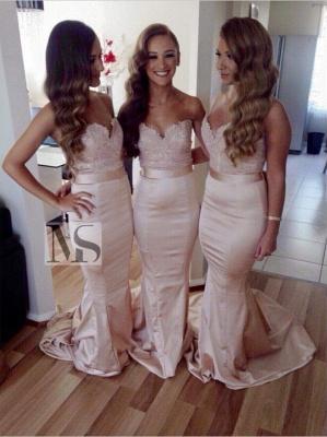 Elegant Sleeveless Sweartheart Mermaid Bridesmaid Dress UK Sweep Train_2