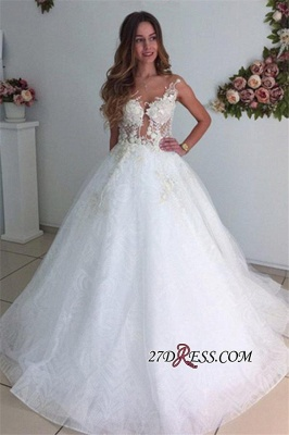 A-Line Beach Court-Train White Lace Tulle Appliques Wedding Dresses UK_4