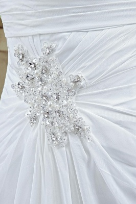 Front Split White Wedding Dress Beadss Sweetheart Sleeveless_3