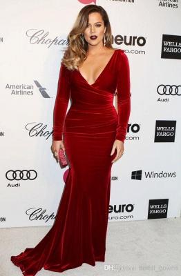 Beautiful Long Sleeve V-Neck Prom Dress UKes UK Burgundy Mermaid Long_1