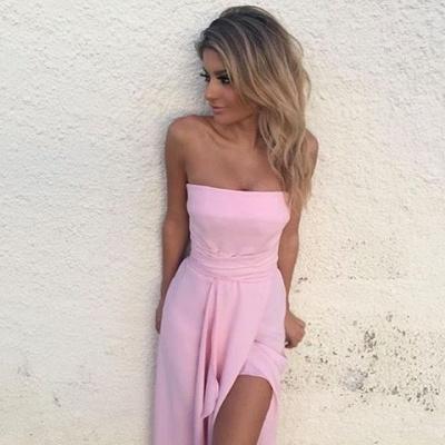 Chiffon Pink Front-Split Sleeveless Strapless Sexy Prom Dress UK_1