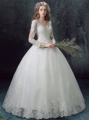 Romantic Lace Tulle Ball Gown Wedding Dress 3/4-Long Sleeve_1