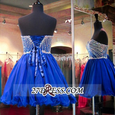 Sweetheart Mini Blue Lace-Up Crystal Homecoming Dress UKes UK BA3829_4