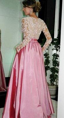 Sexy A-Line V-neck Prom Dress UKes UK Long Sleeve Evening Dress UKes UK with Beadings_2