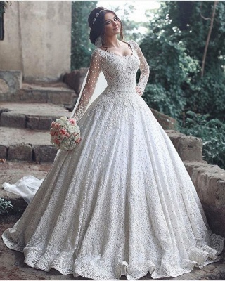 Pretty Long Sleeve Lace Wedding Dress Ball Gown Floor Length BA3046_3