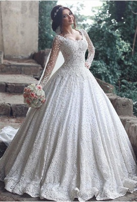 Pretty Long Sleeve Lace Wedding Dress Ball Gown Floor Length BA3046_1