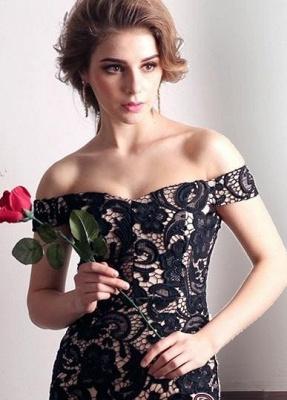 Back-Zipper Sheath-Column Sexy Off-the-shoulder Lace Evening Dress UK_2