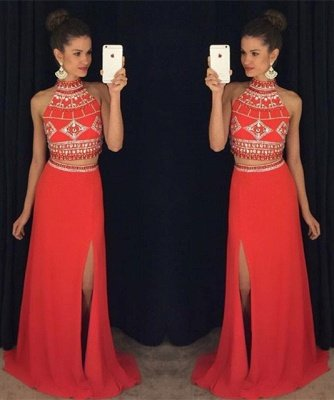 Luxury Two Pieces High Neck Prom Dress UK Long Chiffon With Beadings AP0_3