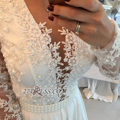 Sexy V-neck Long Sleeve Evening Dress UK With Pearls And Lace Appliques BT0_2