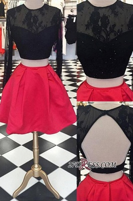 Lace Short Two-Piece Halter Long-Sleeve Backless Homecoming Dress UKes UK_2