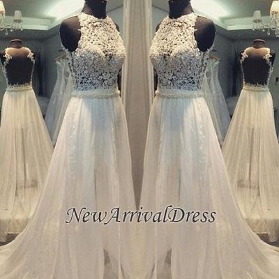 Scoop Neckline Simple Hollow Sweep-train A-line Sleevess Wedding Dress_1