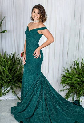 Green Off-the-Shoulder Prom Dress UK   Sequins Mermaid Evening Gowns_1
