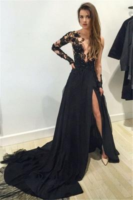 Elegant Black Lace Appliques Prom Dress UK Front Split Long Sleeve Sweep Train_2